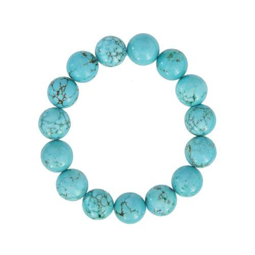 bracelet turquoise pierres boules 12mm