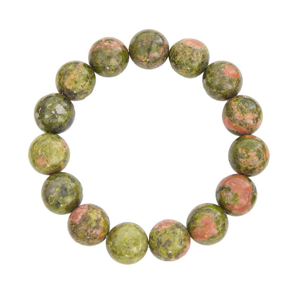 bracelet unakite pierres boules 12mm