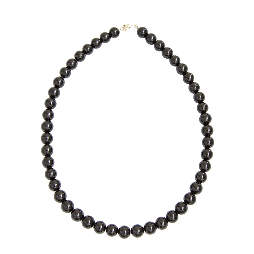 collier agate noire pierres boules 10mm
