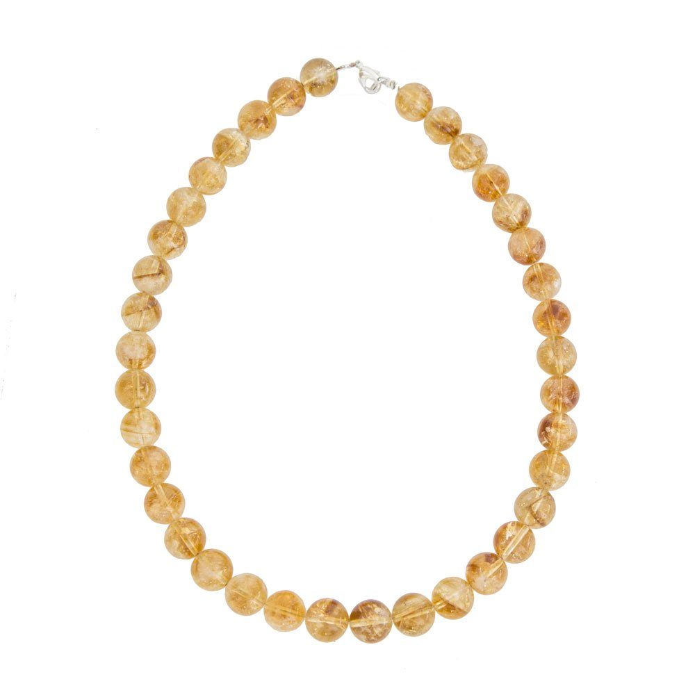 collier citrine pierres boules 12mm