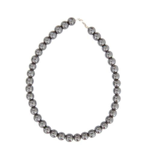 collier hématite pierres boules 12mm