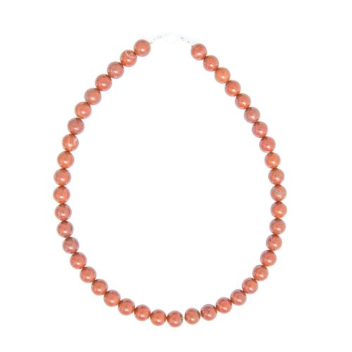 collier jaspe rouge pierres boules 10mm