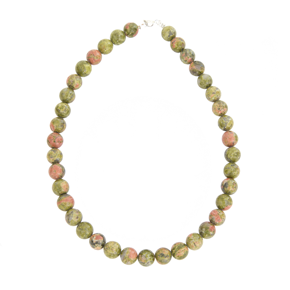 collier unakite pierres boules 12mm