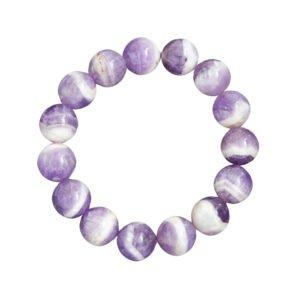 bracelet améthyste pierres boules 12mm