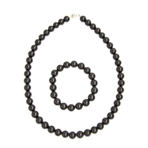 coffret agate noire pierres boules 10mm