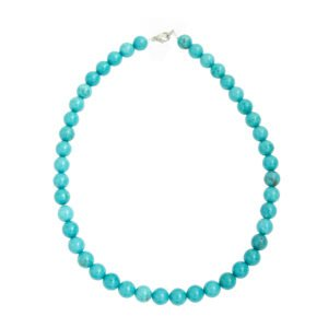 collier turquoise pierres boules 10mm