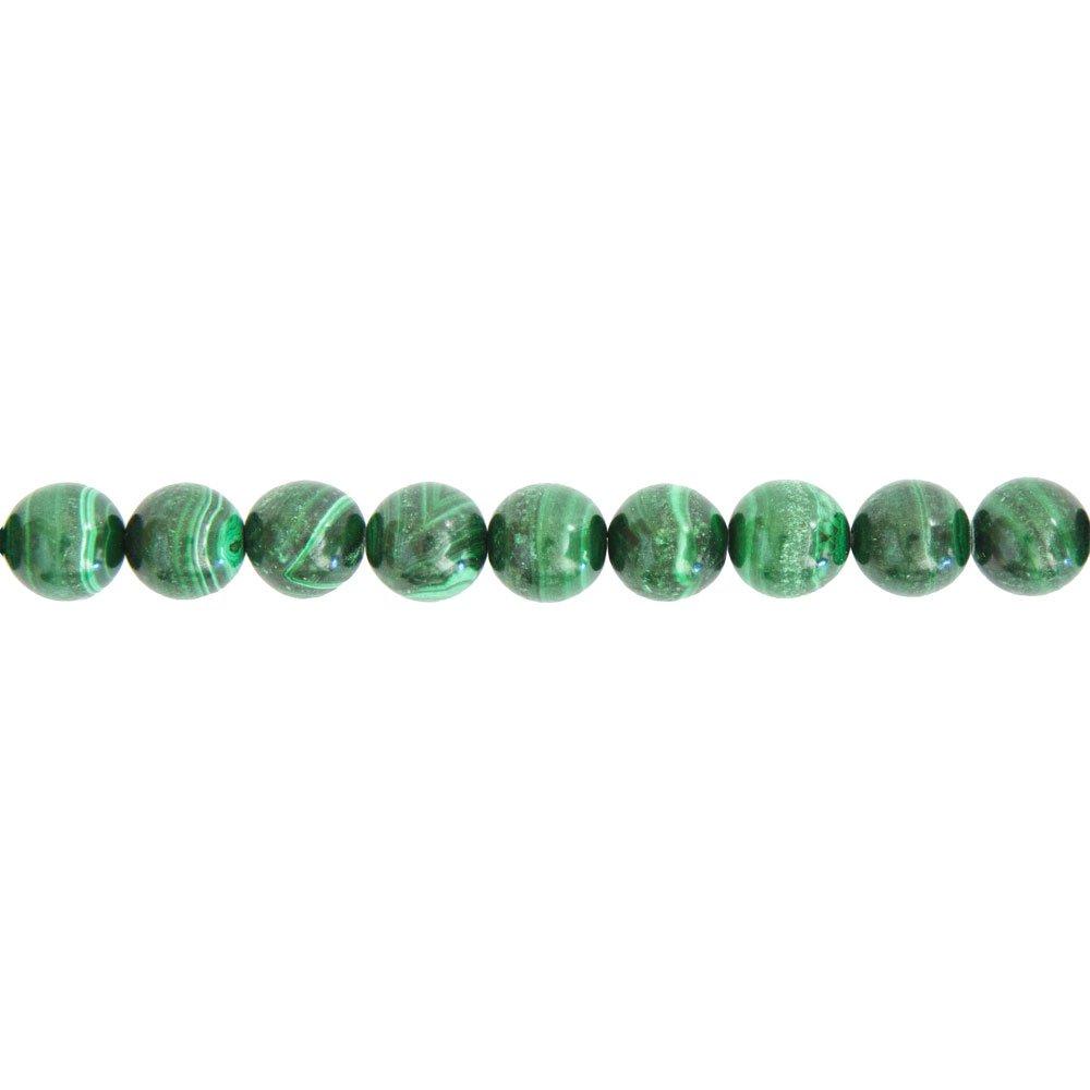 fil malachite pierres boules 10mm