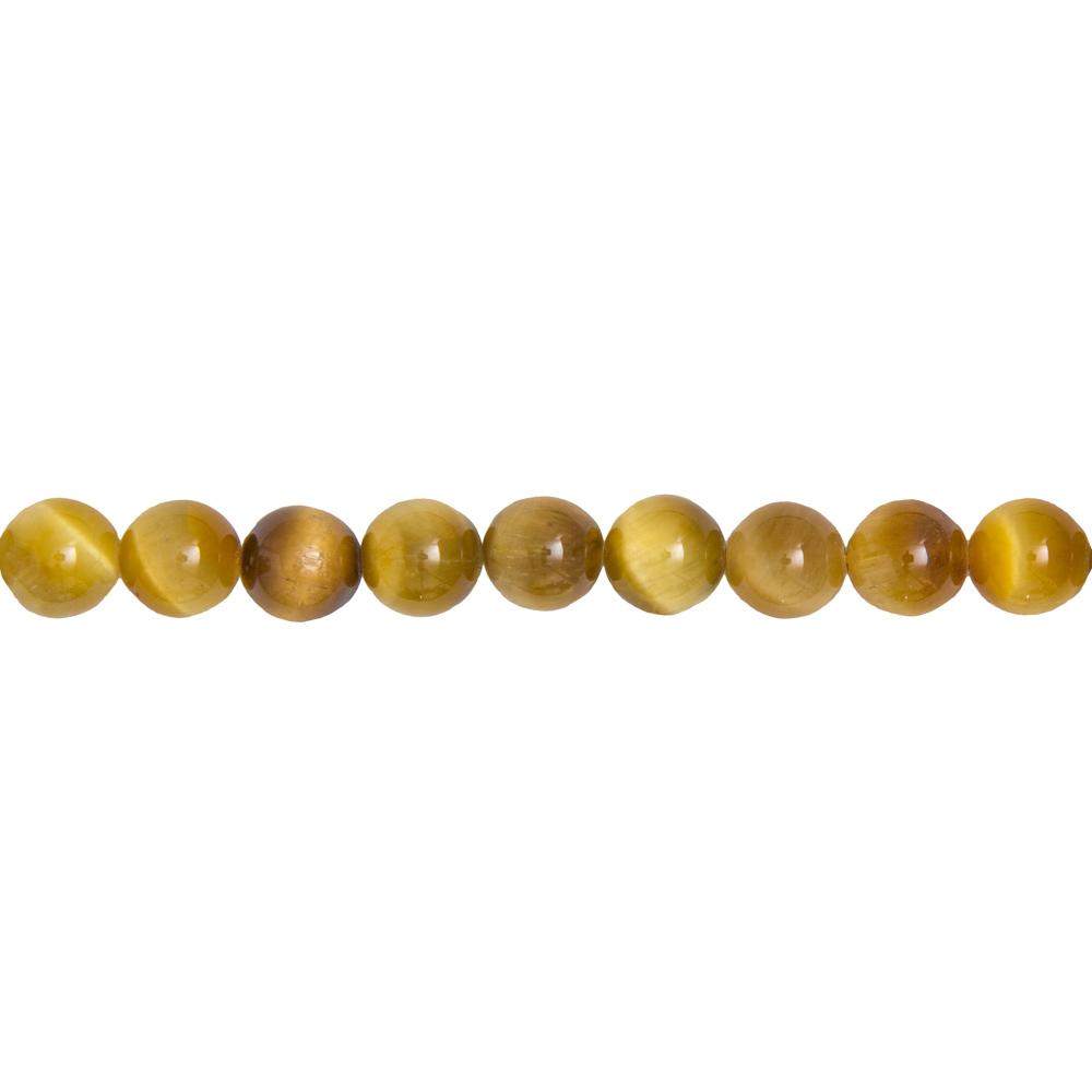 fil oeil de tigre doré pierres boules 10mm