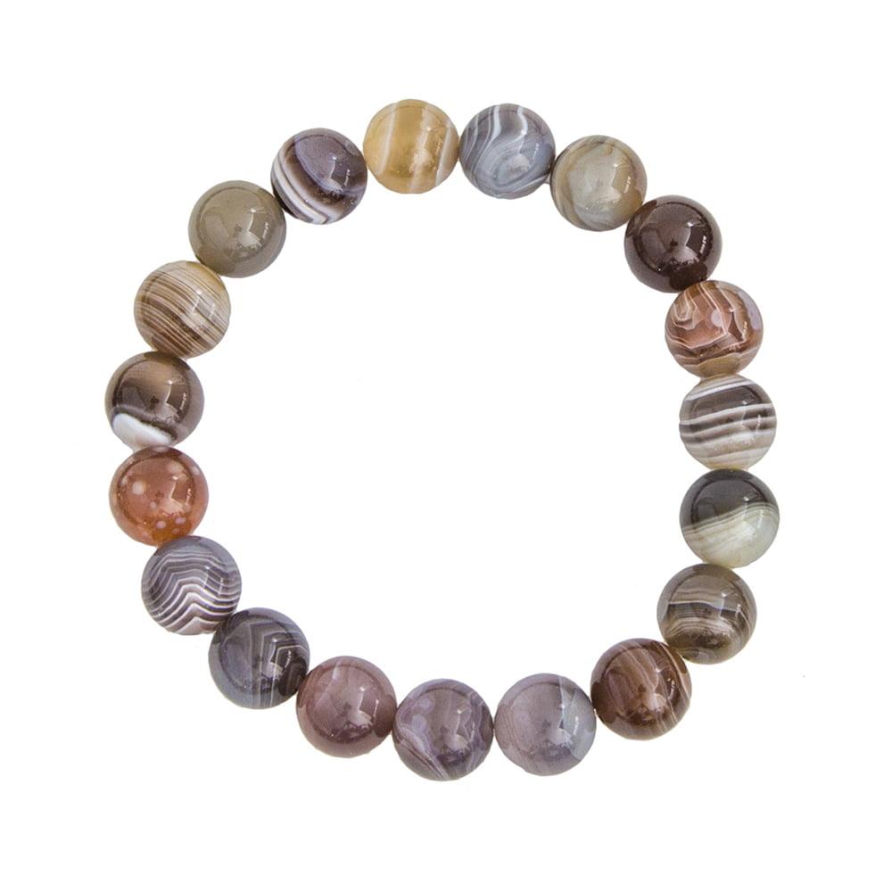 bracelet agate du botswana pierres boules 10mm