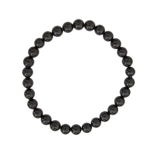 bracelet agate noire pierres boules 6mm