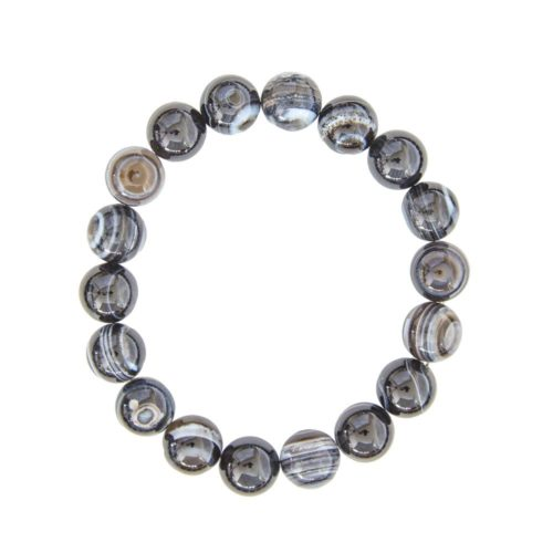 bracelet agate zonée noire pierres boules 10mm