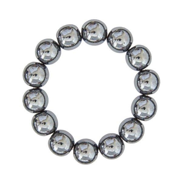 bracelet hématite en pierres boules 14mm