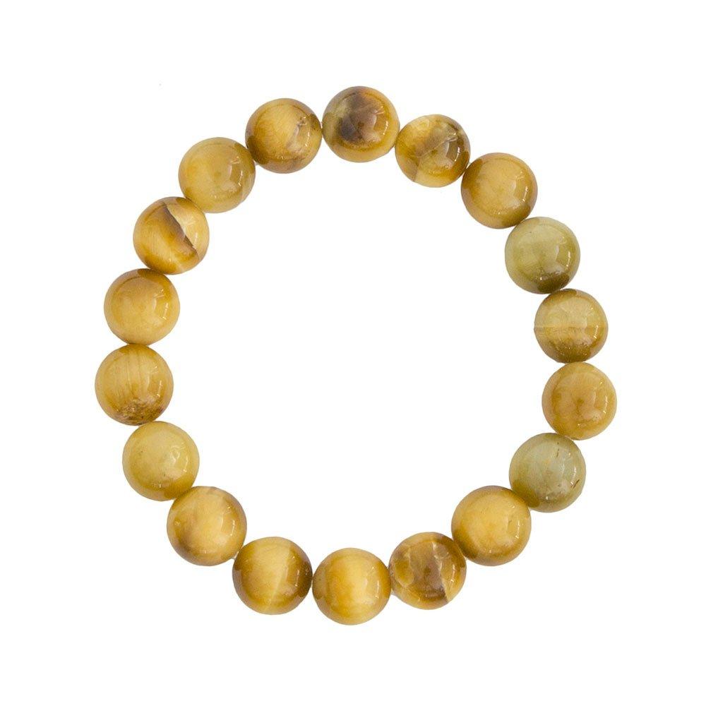 bracelet oeil de tigre doré pierres boules 10mm