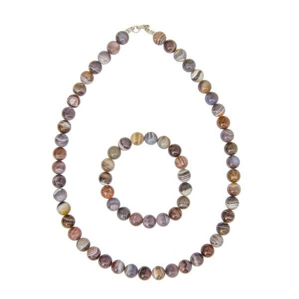 coffret agate du botswana pierres boules 10mm