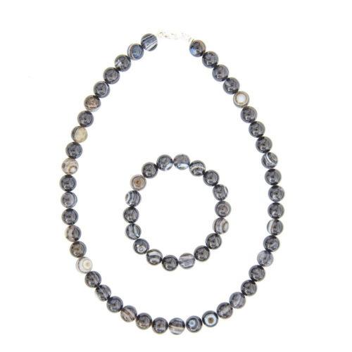 coffret agate zonée noire pierres boules 10mm