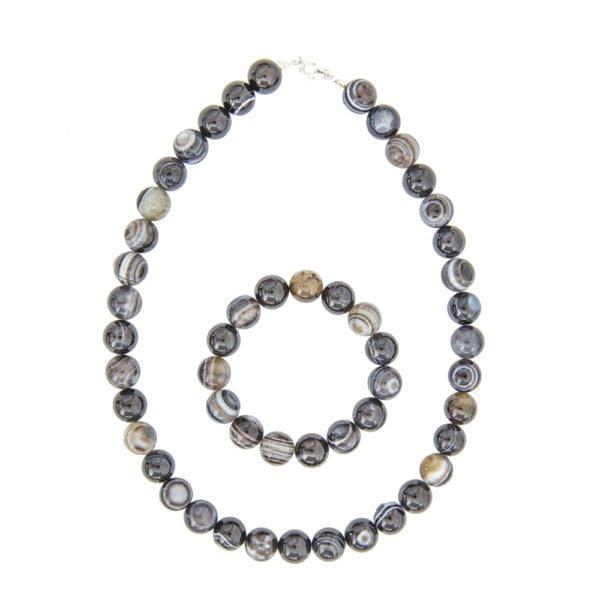 coffret agate zonée noire pierres boules 12mm