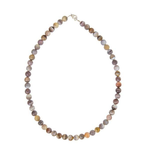 collier agate du botswana pierres boules 8mm