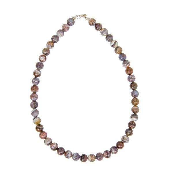 collier agate du botswana pierres boules 10mm