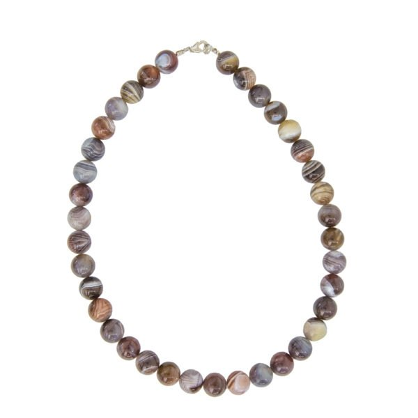 collier agate du botswana pierres boules 12mm
