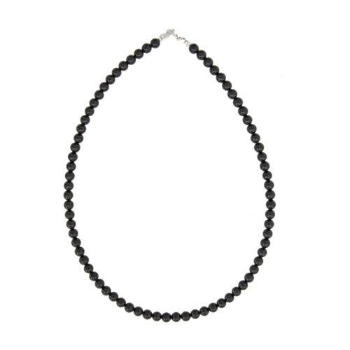 collier agate noire pierres boules 6mm