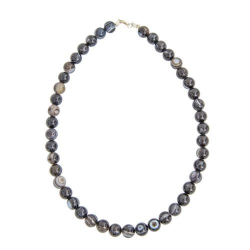 collier agate zonée noire pierres boules 10mm
