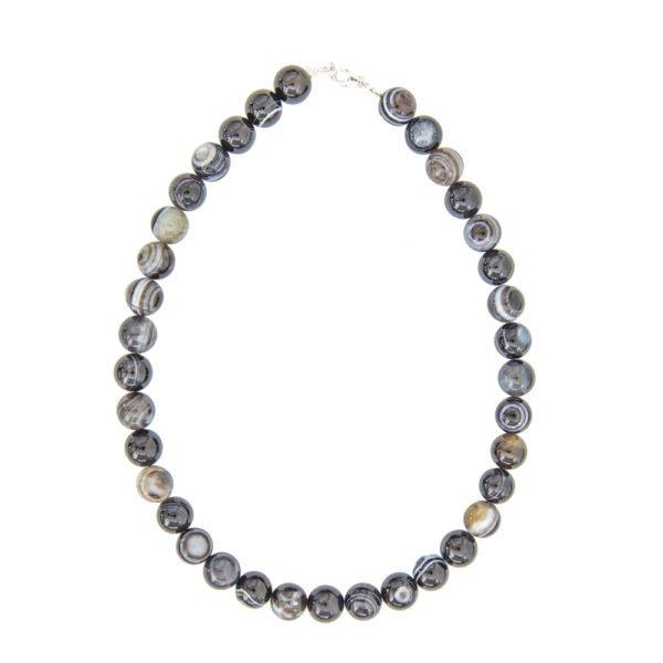 collier agate zonée noire pierres boules 12mm