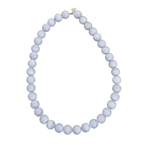 collier calcédoine pierres boules 12mm
