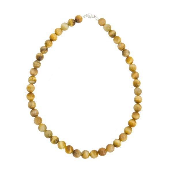 collier oeil de tigre doré pierres boules 10mm
