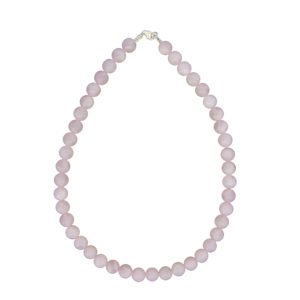 collier quartz rose pierres boules 10mm