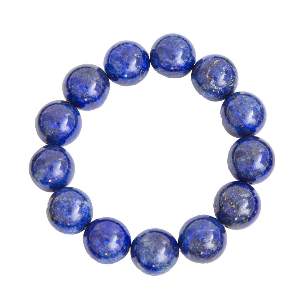 bracelet lapis lazuli pierres boules 14mm france minéraux
