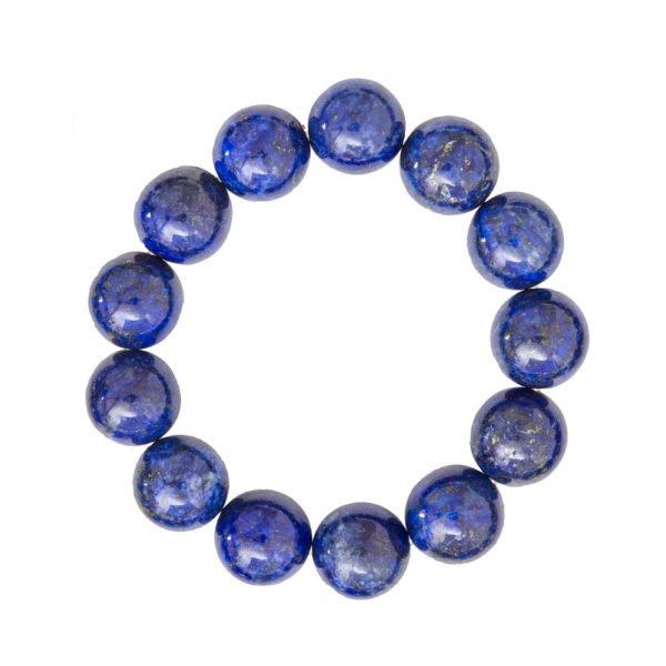 bracelet lapis lazuli pierres boules 14mm