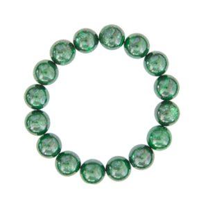 bracelet malachite pierres boules 12mm