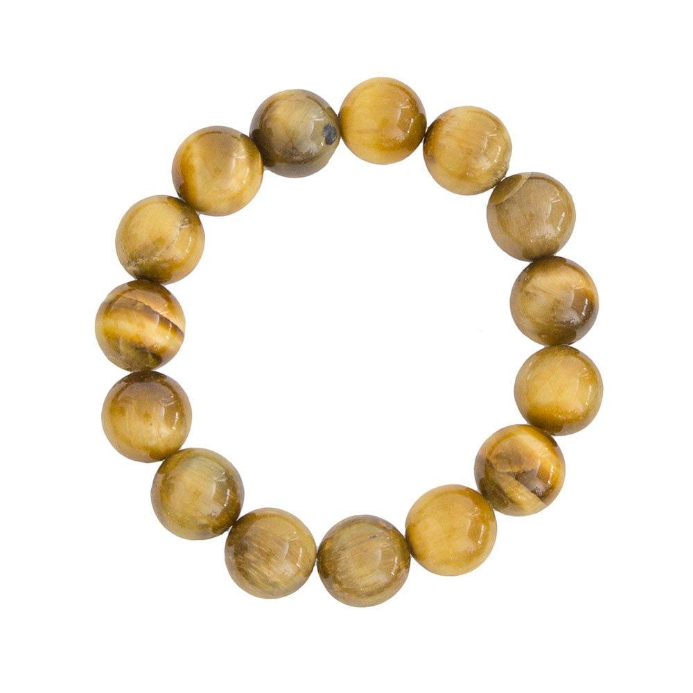 bracelet oeil de tigre doré pierres boules 12mm