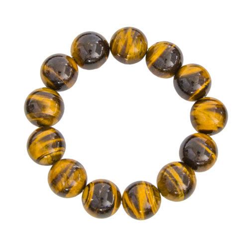 bracelet oeil de tigre pierre boules 14mm