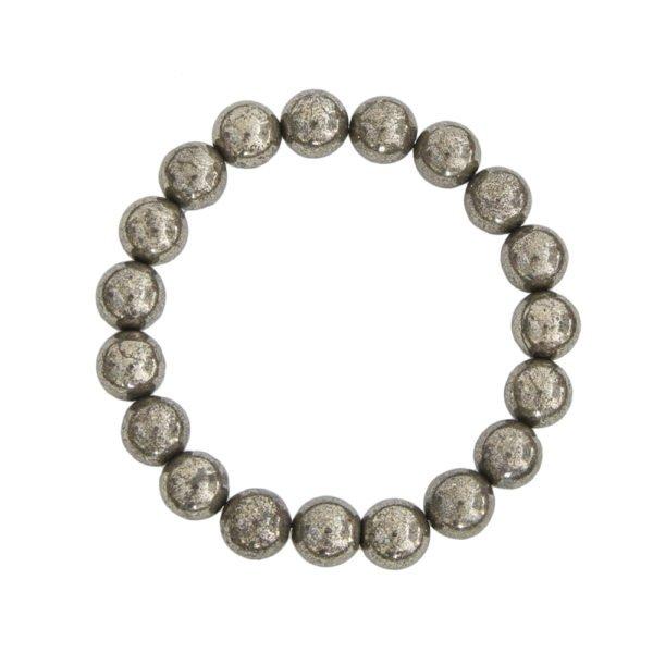 bracelet pyrite de fer pierres boules 10mm