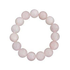 bracelet quartz rose pierres boules 12mm