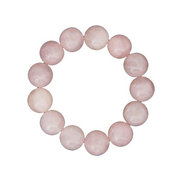 bracelet quartz rose pierres boules 14mm