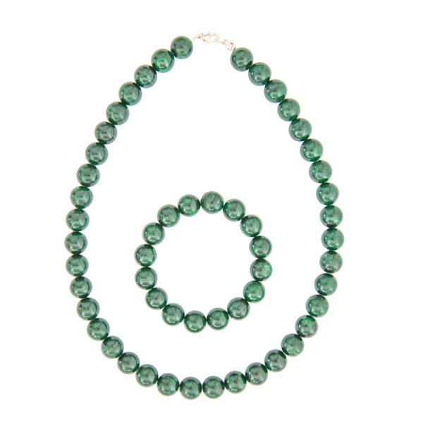 coffret malachite pierres boules 12mm