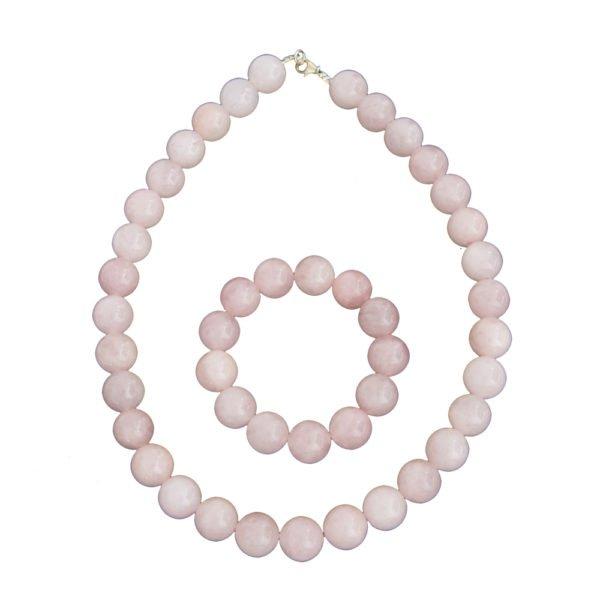 coffret quartz rose pierres boules 14mm
