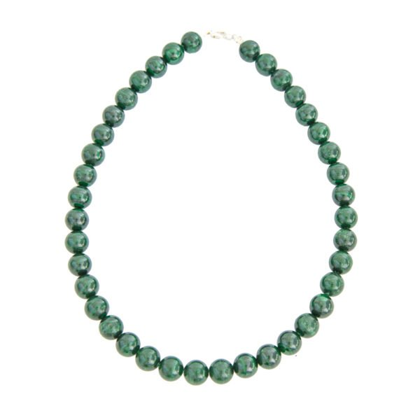 collier malachite pierres boules 12mm