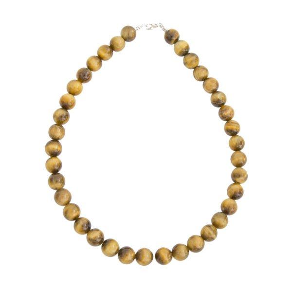 collier oeil de tigre doré pierres boules 12mm