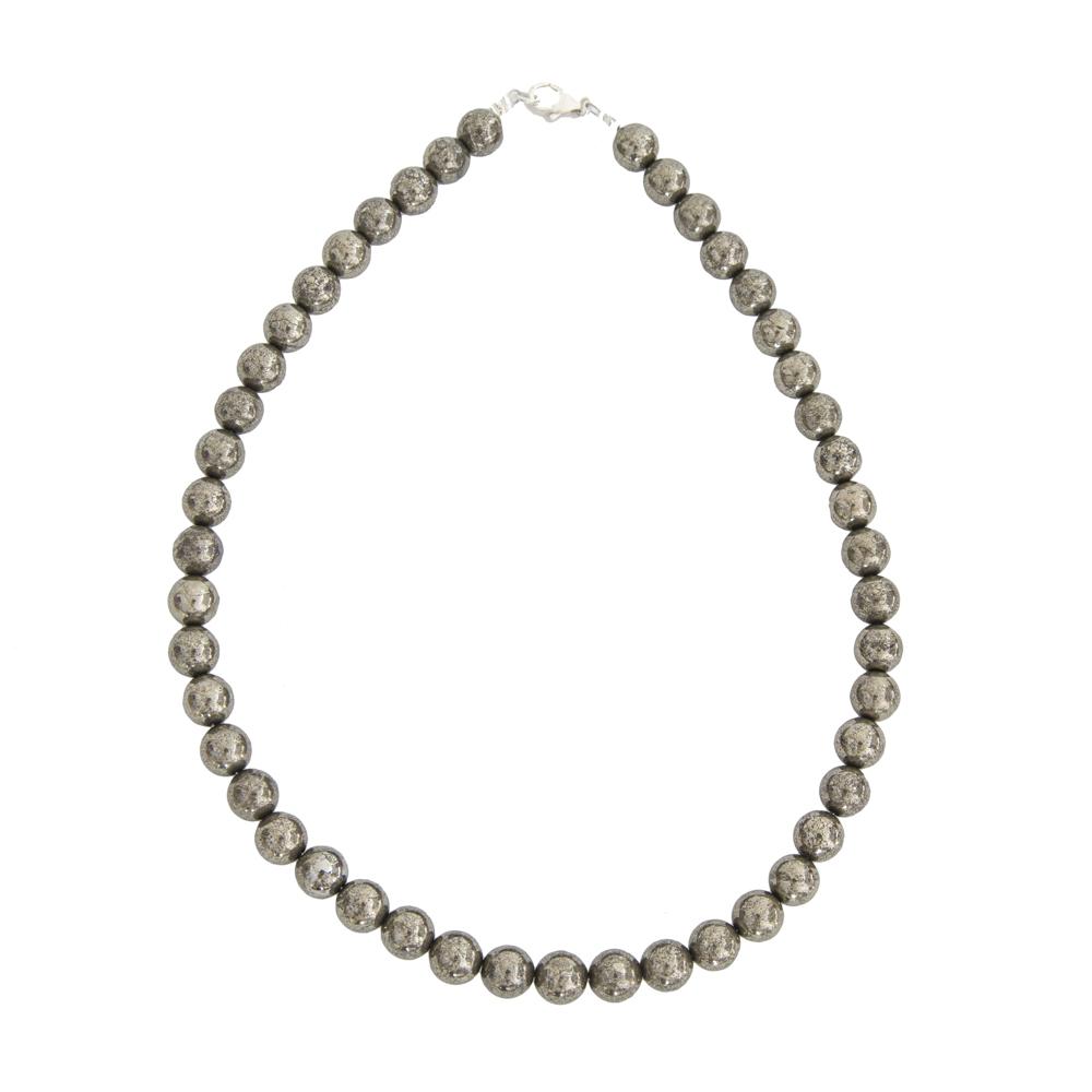 collier pyrite de fer pierres boules 10mm