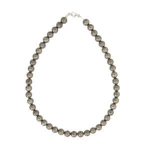 collier pyrite de fer pierres boules 10mm
