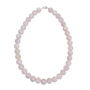collier quartz rose pierres boules 12mm