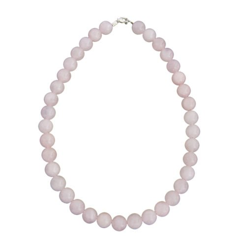 collier quartz rose pierres boules 12mm
