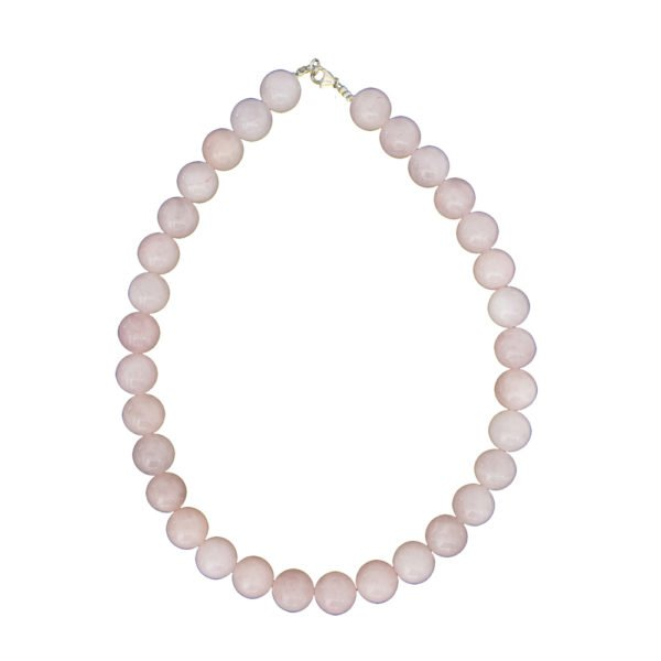 collier quartz rose pierres boules 14mm