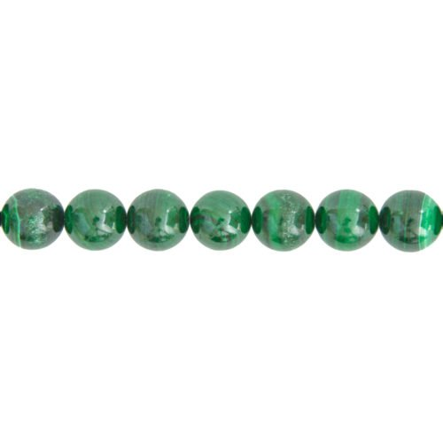 fil malachite pierres boules 14mm