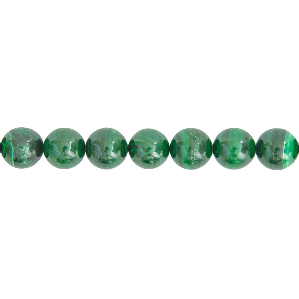 fil malachite pierres boules 14mm