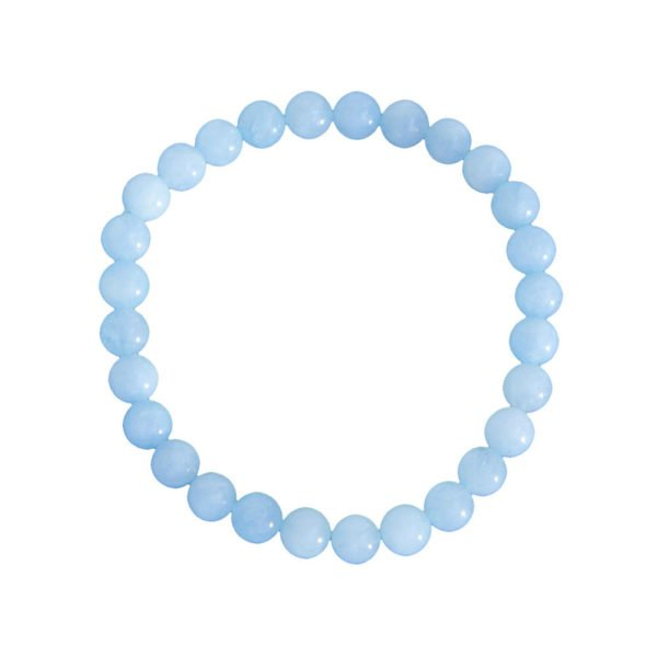 bracelet aigue marine pierres boules 6mm