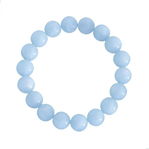bracelet aigue marine pierres boules 10mm